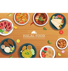 Halal food on a wooden background food vector