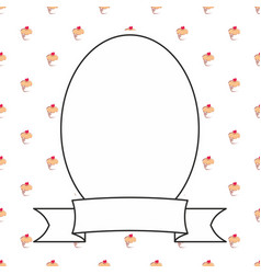 hand drawn decorative frame on sweet cake vector image