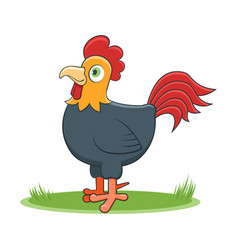 Happy cartoon rooster vector