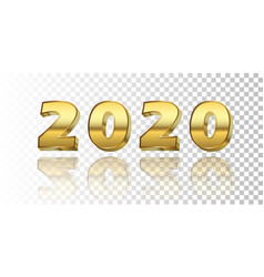 happy new year 2020 gold 3d number isolated white vector image