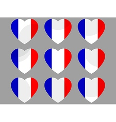 Hearts with the French flag vector