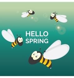 Hello spring cartoon cute bright baby bee icon vector