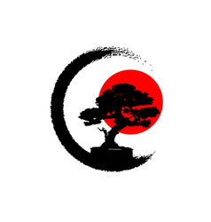Japanese bonsai tree logo black plant silhouette vector