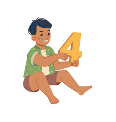 kid with number toy learning to count and maths vector image