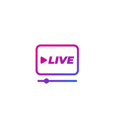 Live stream player icon on white vector