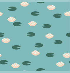 lotus flowers and leaves seamless pattern vector image