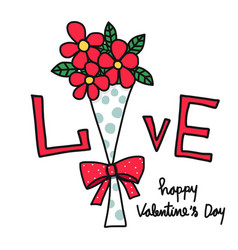 love word flower bouquet happy valentines day car vector image