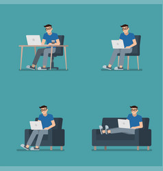 man sitting with laptop set vector image