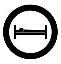 man sleeping icon black color in circle vector image