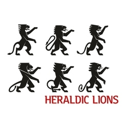Medieval heraldic lions with raised forepaws vector