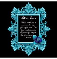 Metal blue decoration frame with the flower vector image vector image