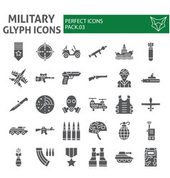 military glyph icon set army symbols collection vector image
