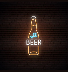 neon sign of cold beer neon beer bottles emblem vector image