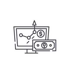 online investing line icon concept online vector image