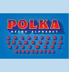 Polka retro style alphabet vector
