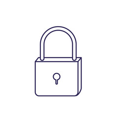 purple line contour of padlock icon vector image