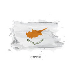 realistic watercolor painting flag cyprus vector image