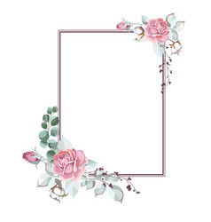 Rectangular frame with roses vector