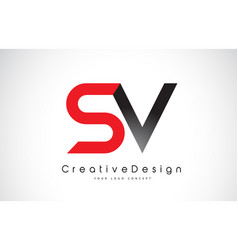 Red and black sv s v letter logo design creative vector