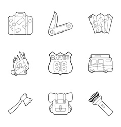 Rest on nature icons set outline style vector