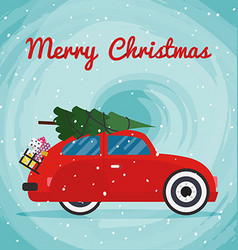 Retro red car with Christmas tree on the roof vector