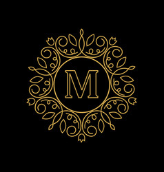 round emblem with gold letter m on black vector image