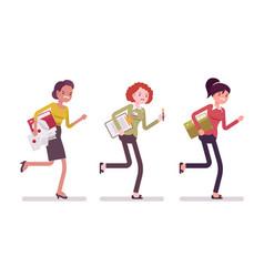 Runnig women with folders vector