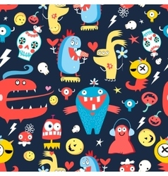 Seamless jolly pattern with monsters vector image