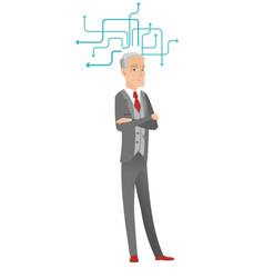 Senior caucasian businessman thinking vector