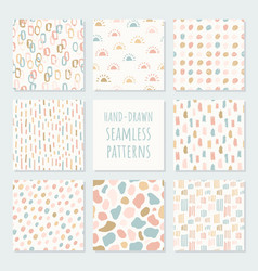 Set abstract contemporary seamless patterns vector