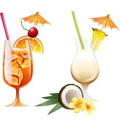 Set beach tropical cocktails bahama mama and vector