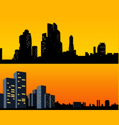 set black silhouettes city with light windows vector image
