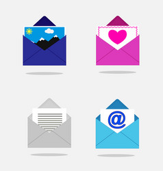 Set of open envelopes vector