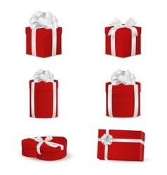 Set of red gift boxes with white bows and ribbons vector