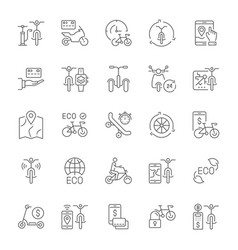 set simple icons bike sharing vector image