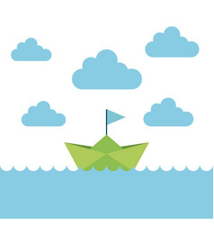 ship boat paper in the sea vector image