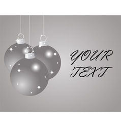 Silver Christmas balls on a silver background vector image