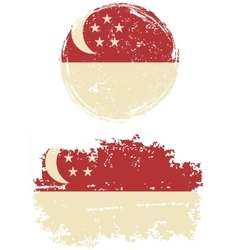 Singapore round and square grunge flags vector