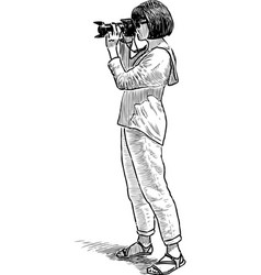 sketch of an young woman shooting vector image