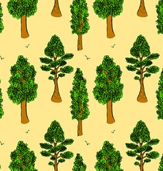 Sketch trees in vintage style vector image