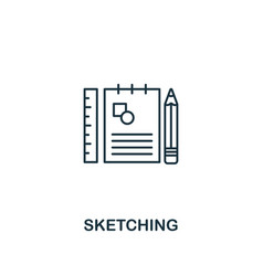 sketching icon thin outline style design from vector image