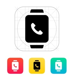 Smart watch call with handset icon vector image