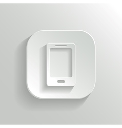 Smartphone icon - white app button vector image
