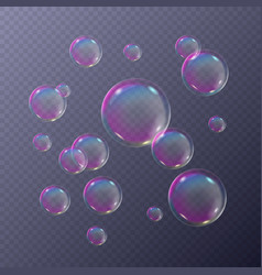 soap bubbles foamy with rainbow colors vector image