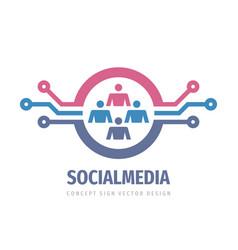 social media network concept logo design data hr vector image