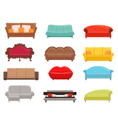 sofa collection comfortable couch and sofa-bed vector image