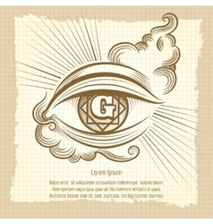 Spiritual eye in vintage style vector image