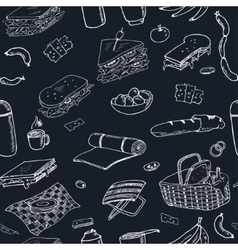 Summer picnic doodle seamless pattern Various vector image