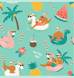 Tropical hot christmas seamless pattern with cute vector