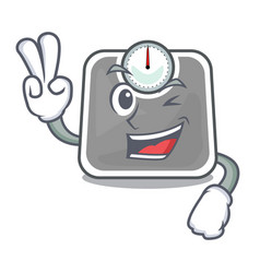two finger weghit cartoon scale the health room vector image